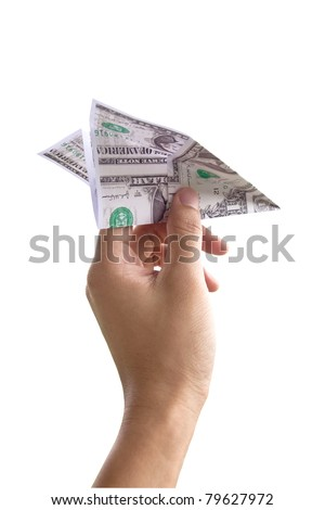 concept image foe business Hand throwing the money paper airplane - stock photo