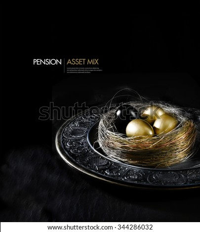 Concept image for financial asset management. Black egg amongst gold eggs, concept for mix, danger, risk, the unknown, bad news, impostor etc. Generous accommodation for copy space. - stock photo