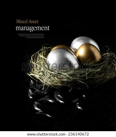 Concept image for mixed asset financial management. Mixed gold and silver goose eggs in a grass birds nest against a black background. Copy space. - stock photo