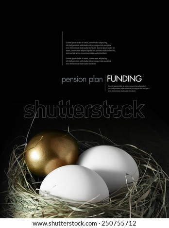 Concept image for mixed asset pension financial management. Mixed gold and white goose eggs in a grass birds nest against a black background. Copy space. - stock photo