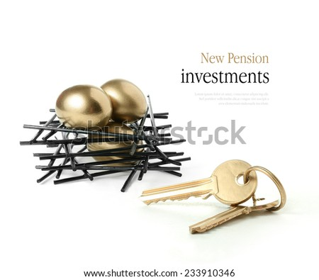 Concept image for newly released pension investments to purchase a second or even third home. Copy space. - stock photo