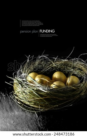Concept image for pension fund management. Gold eggs in a grass birds nest against a black background. Copy space. - stock photo