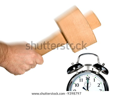 Concept image for turning off the alarm clock in the morning. - stock photo