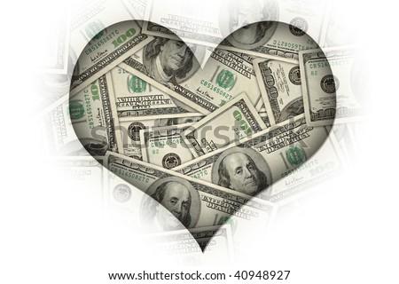 "concept image: ""I heart money"" or ""I love money"". - stock photo"