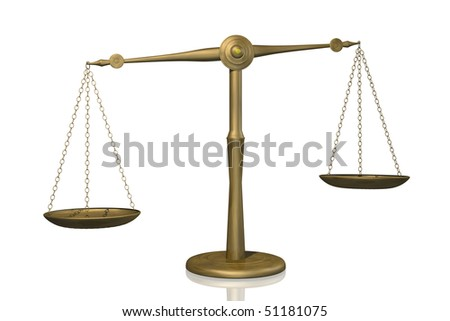 Concept image of a balance shown with a scale isolated on a white background. - stock photo