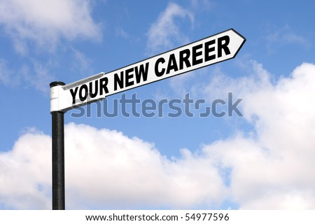 Concept image of a black and white signpost with the words Your New Career against a blue cloudy sky. - stock photo
