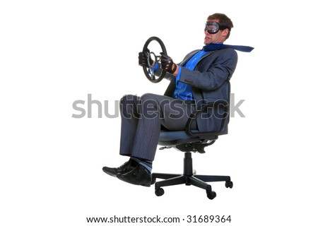 Concept image of a businessman driving along whilst sat in an office chair, isolated on a white background.