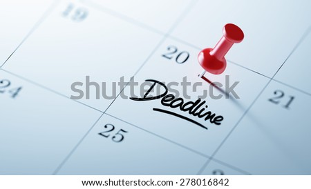 Concept image of a Calendar with a red push pin. Closeup shot of a thumbtack attached. The words Deadline written on a white notebook to remind you an important appointment. - stock photo