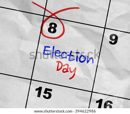 Concept image of a Calendar with the text: Election Day - stock photo