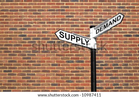 Concept image of a signpost with Supply and Demand against a brick wall - stock photo
