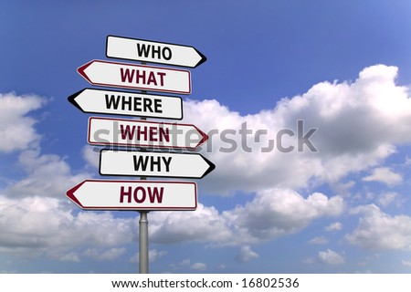 Concept image of a signpost with the five or six Ws the fundamental questions used in research. - stock photo