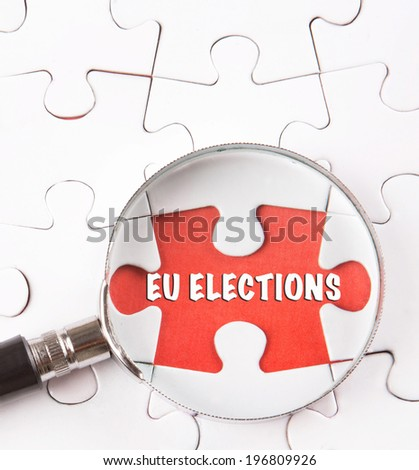 Concept image of current issue of EU Elections under scrutiny. - stock photo