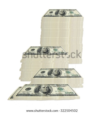 concept image of 100 hundred dollar bills stacked in various groupings of different heights - stock photo