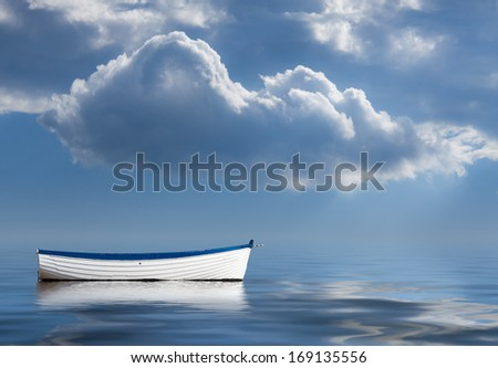 Concept image of loneliness, lacking direction, no leadership, rudderless, floating, listless or generally adrift without a goal - stock photo