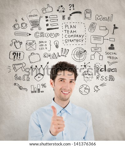 Concept image of successful handsome businessman with lot of hand drawn icons around which symbolizing success work, planning, development, strategy and management in business. - stock photo