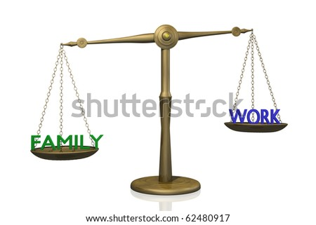 "Concept image of the balance between ""Family"" and ""Work""."