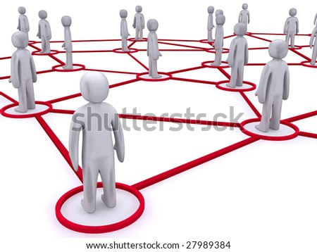 Concept image representing networking. This image is 3d render. - stock photo