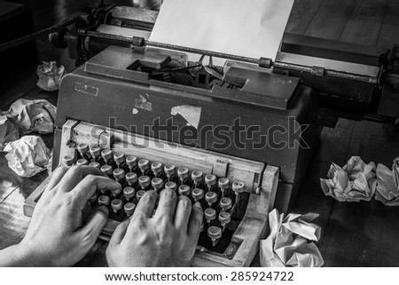 Concept image with old typewriter - stock photo