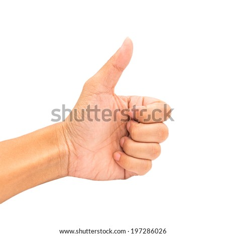 Concept man showing thumb finger hand isolated on white