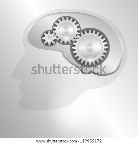 Concept metal background with schematic representation of the human head with a mechanical brain. Raster version of the loaded vector. - stock photo
