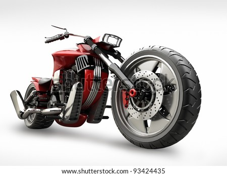 concept motorcycle isolated on white background (No trademark issues is my own design) High resolution 3D - stock photo