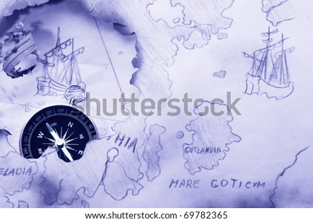Concept. Myth about Bermuda Triangle and Flying Dutchman - stock photo