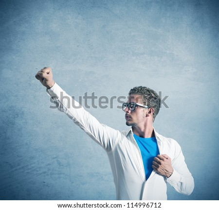 Concept of a businessman like super hero - stock photo