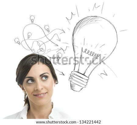 Concept of a businesswoman with a big idea - stock photo