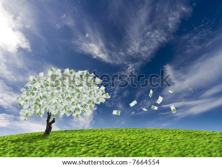 Concept of a cash tree with falling 100 Euro banknotes leaves. Composite shot.