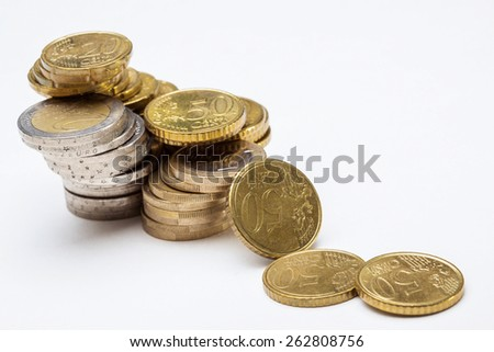 Concept of a depreciation euro, macro shot - stock photo
