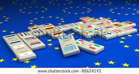 Concept of a European financial crisis, created with dominoes tiles with all the Euro using countries. Focus on the first two tiles. - stock photo
