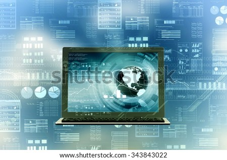 Concept of a laptop computer connected  with internet doing complicated data processing and computing. - stock photo