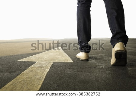 Concept of a man follows the right way - stock photo