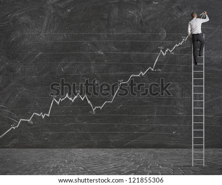 Concept of a positive statistical strend - stock photo