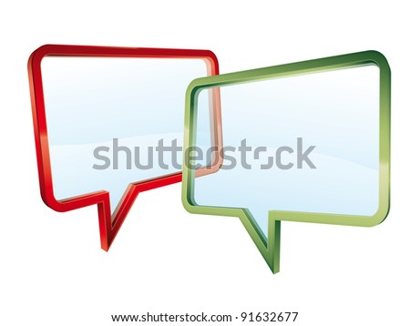 Concept of a transparent conversation isolated on white background. Raster version
