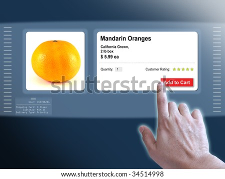 Concept of a virtual touch screen and on line shopping - stock photo