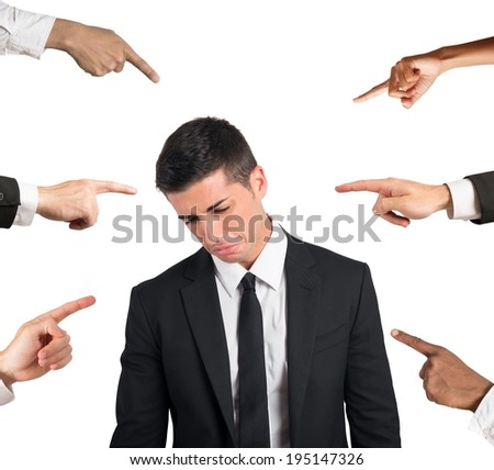 Concept of accusation of a guilty businessman - stock photo