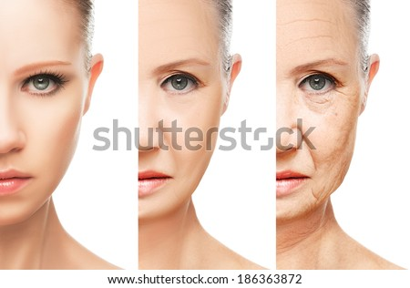 concept of aging and skin care. face of young woman and an old woman with wrinkles isolated - stock photo