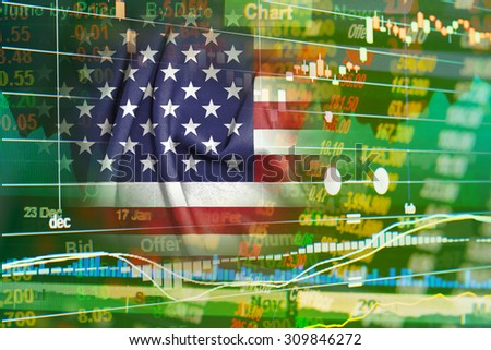 concept of american stock market ticker - stock photo