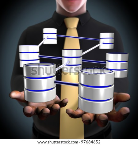 Concept of an architect creating a database network - stock photo