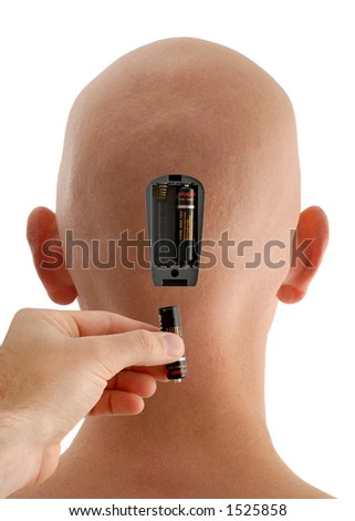 Concept of Batteries Being Inserted into a Bald Head - stock photo