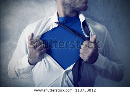 Concept of be superman in business - stock photo