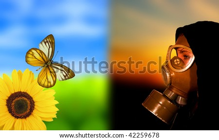 Concept of beautiful world and woman in gas mask - stock photo