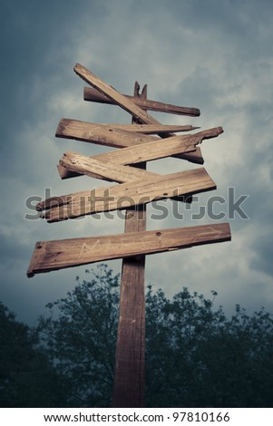 Concept of being lost with a roadsign - stock photo