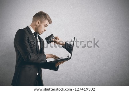 Concept of being robbed by a scam - stock photo