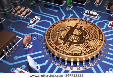 Concept Of Bitcoin Like A Computer Processor On Motherboard. 3D Scene. - stock photo