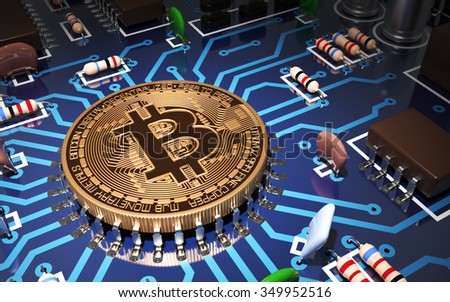 Concept Of Bitcoin Like CPU On Motherboard. 3D Scene. - stock photo