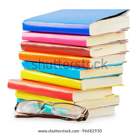 Concept of books with glasses isolated on a white background - stock photo