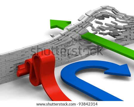 Concept of breaking through obstacles, giving up or failing to overcome illustrated by arrows. - stock photo