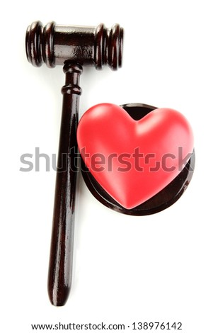 Concept of broken heart because of divorce, isolated on white - stock photo